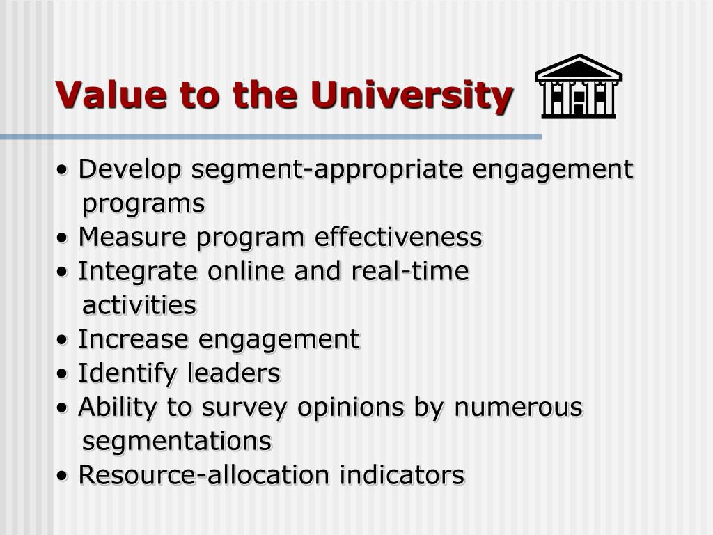 Value to the University