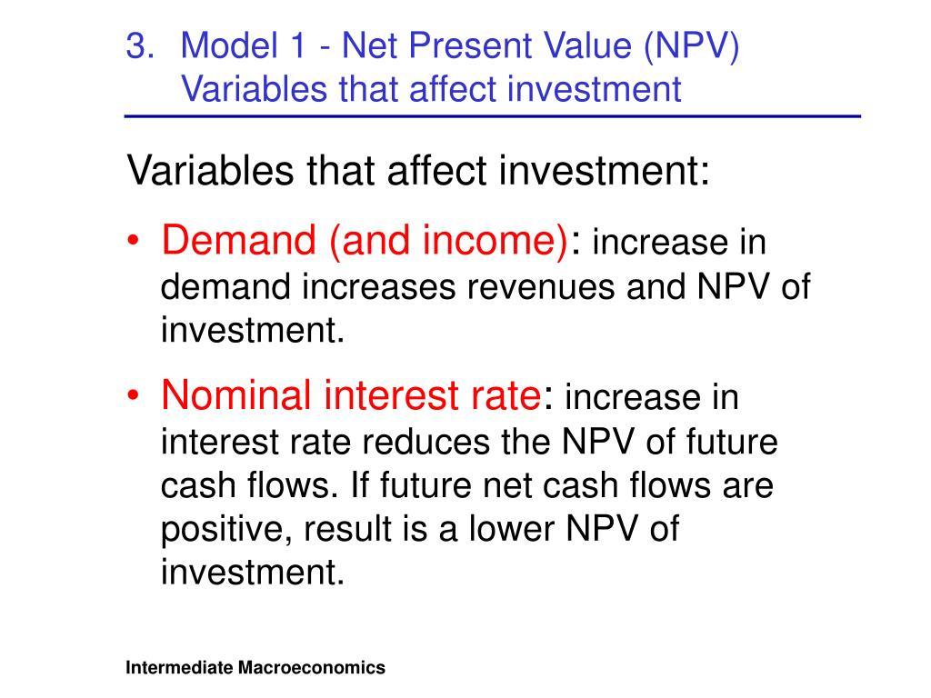Model 1 - Net Present Value (NPV)