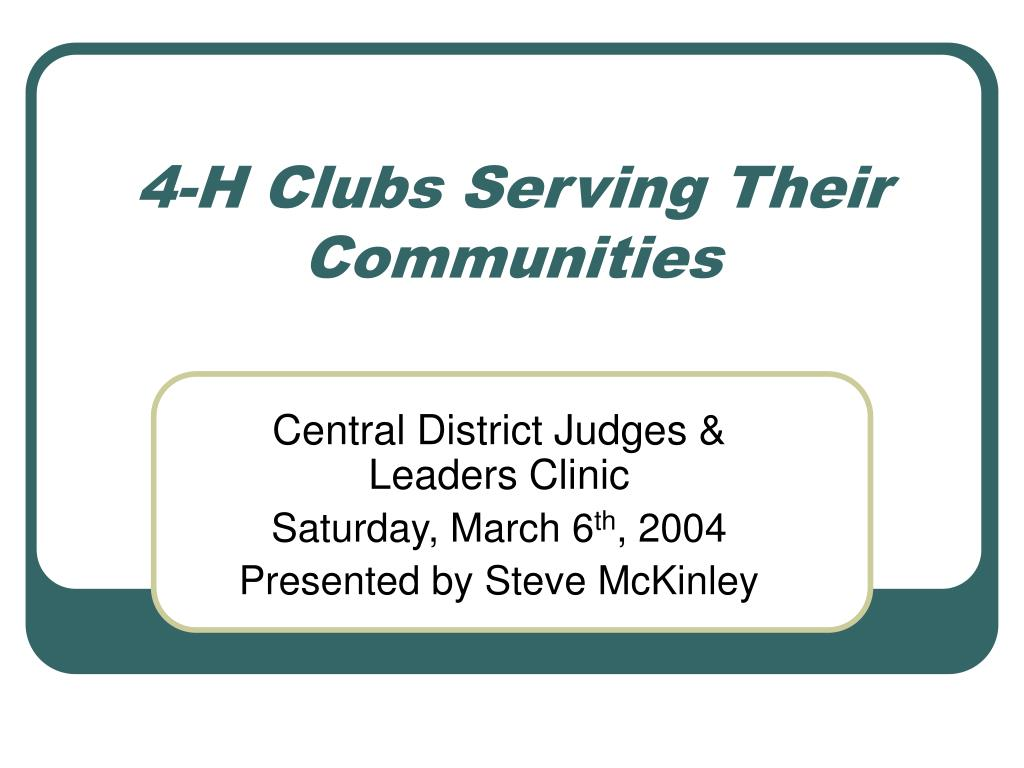 4-H Clubs Serving Their Communities