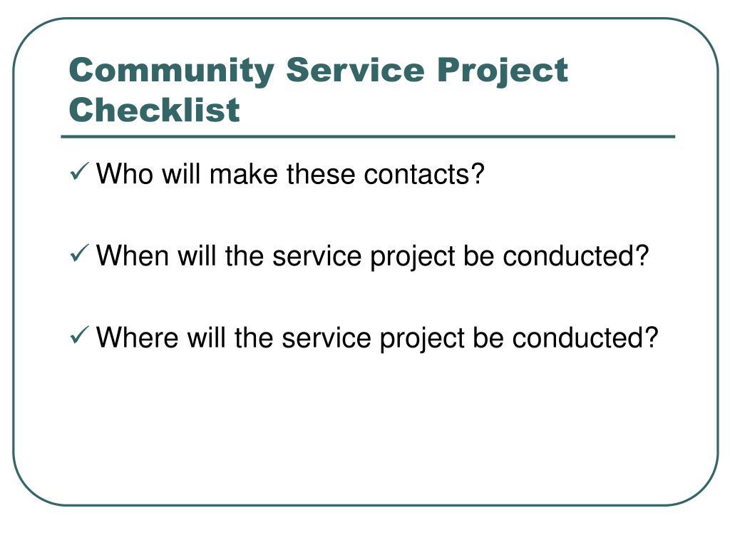 Community Service Project Checklist