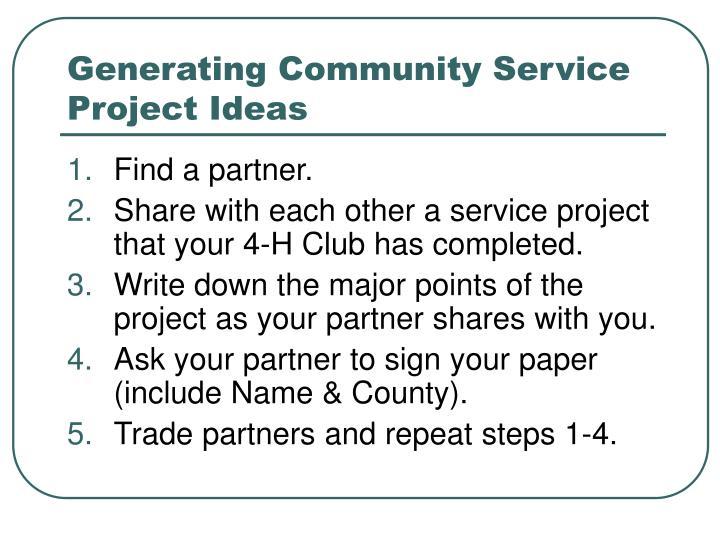 Generating community service project ideas