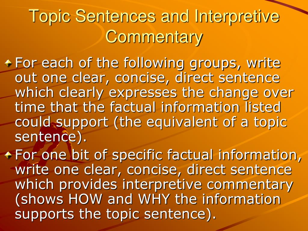 topic sentences and interpretive commentary l.