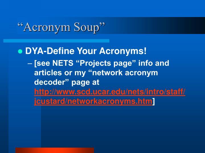Acronym soup