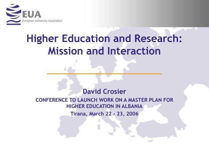 higher education and research mission and interaction