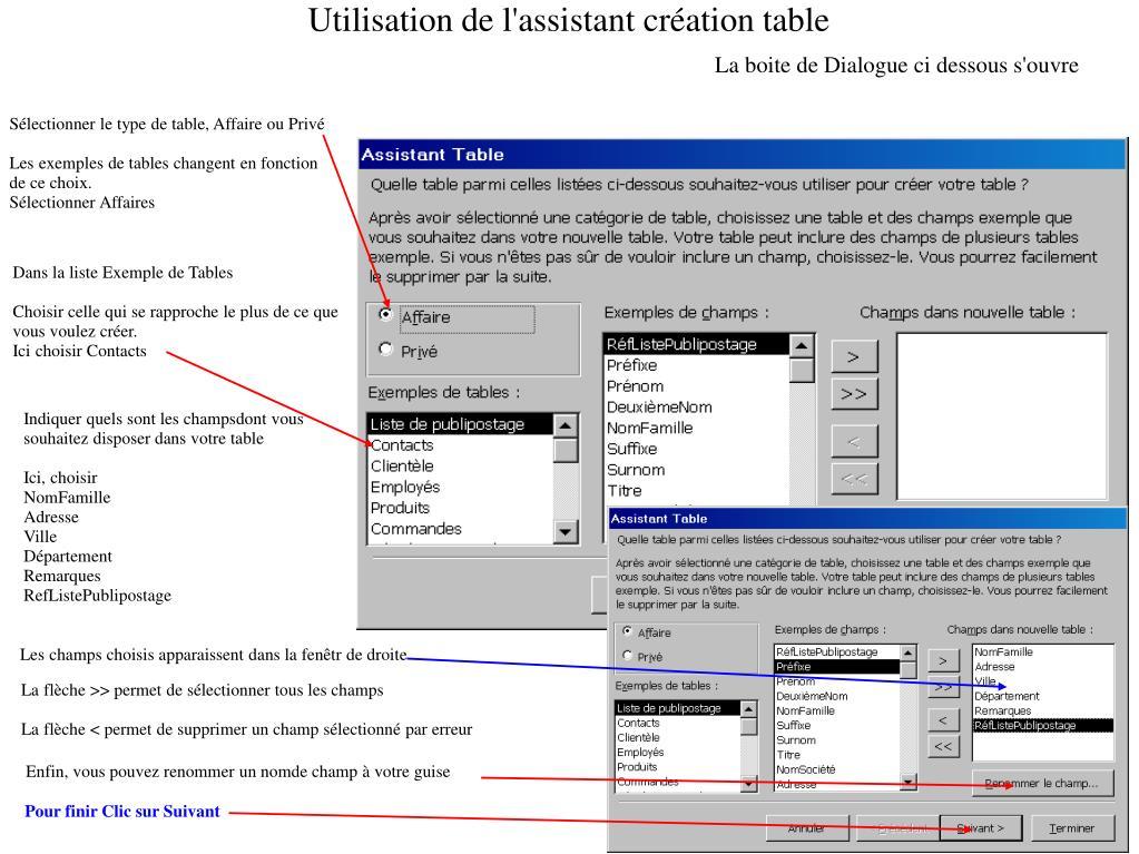Utilisation de l'assistant création table