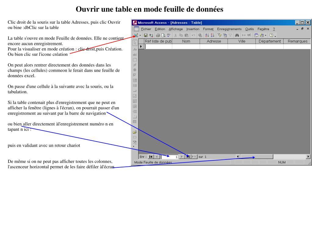 Ouvrir une table en mode feuille de données