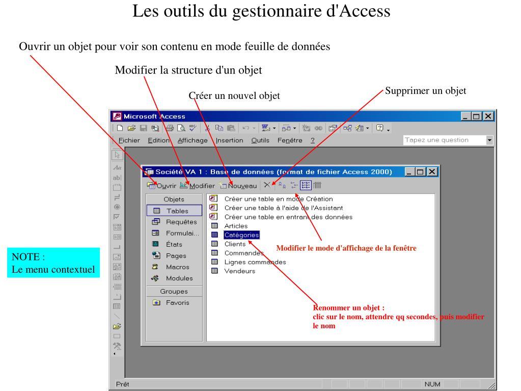 Les outils du gestionnaire d'Access