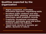 qualities expected by the organization