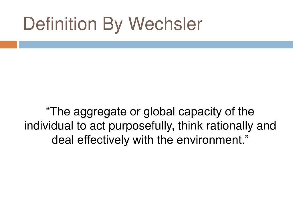 Definition By Wechsler