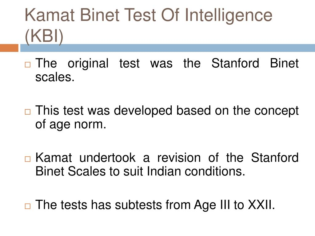 Kamat Binet Test Of Intelligence (KBI)