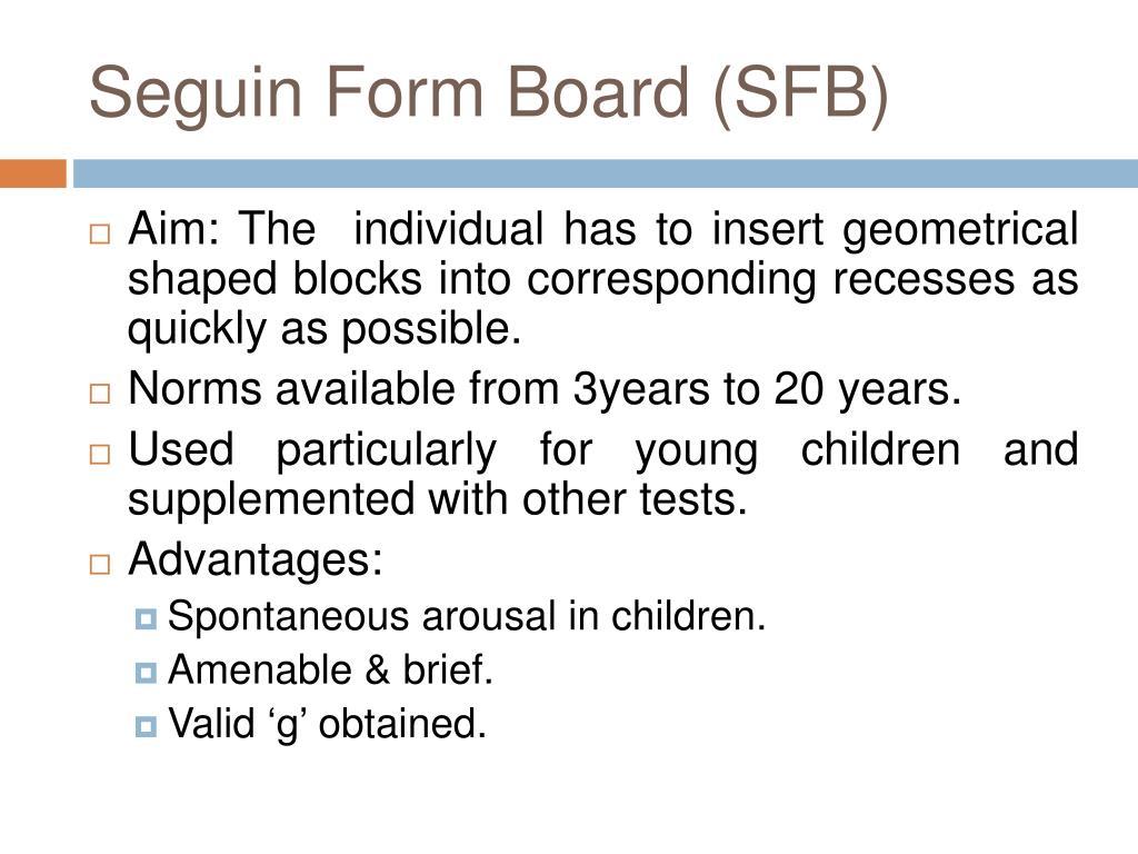 Seguin Form Board (SFB)