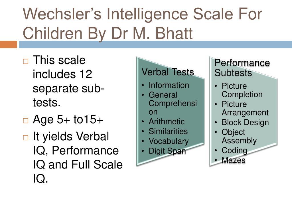 Wechsler's Intelligence Scale
