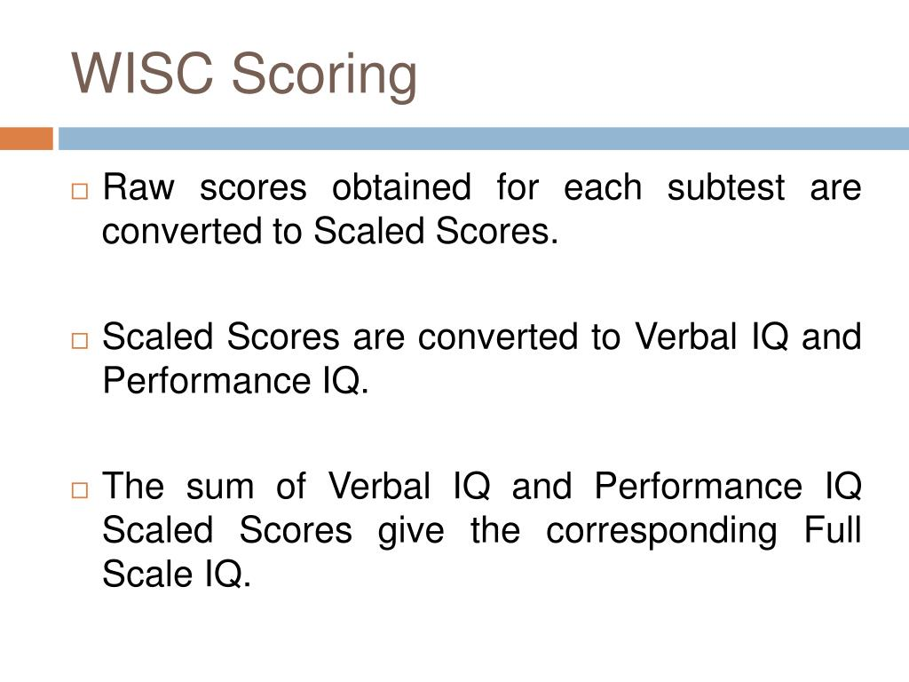 WISC Scoring