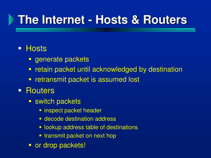The Internet - Hosts & Routers