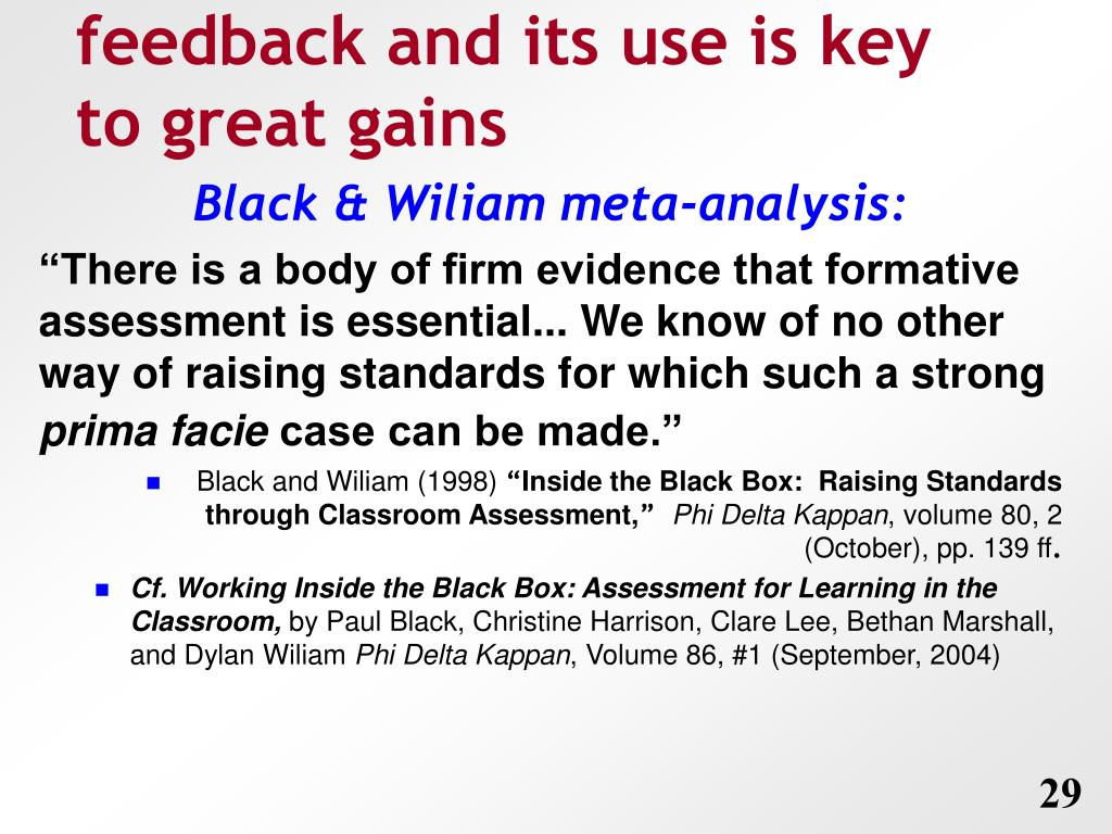 feedback and its use is key to great gains