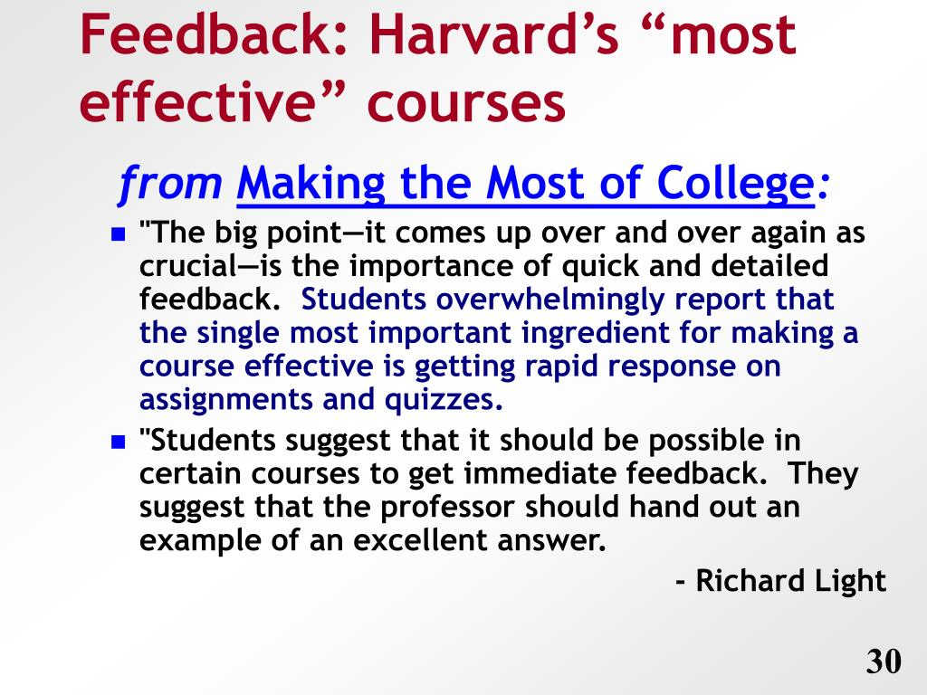 "Feedback: Harvard's ""most effective"" courses"