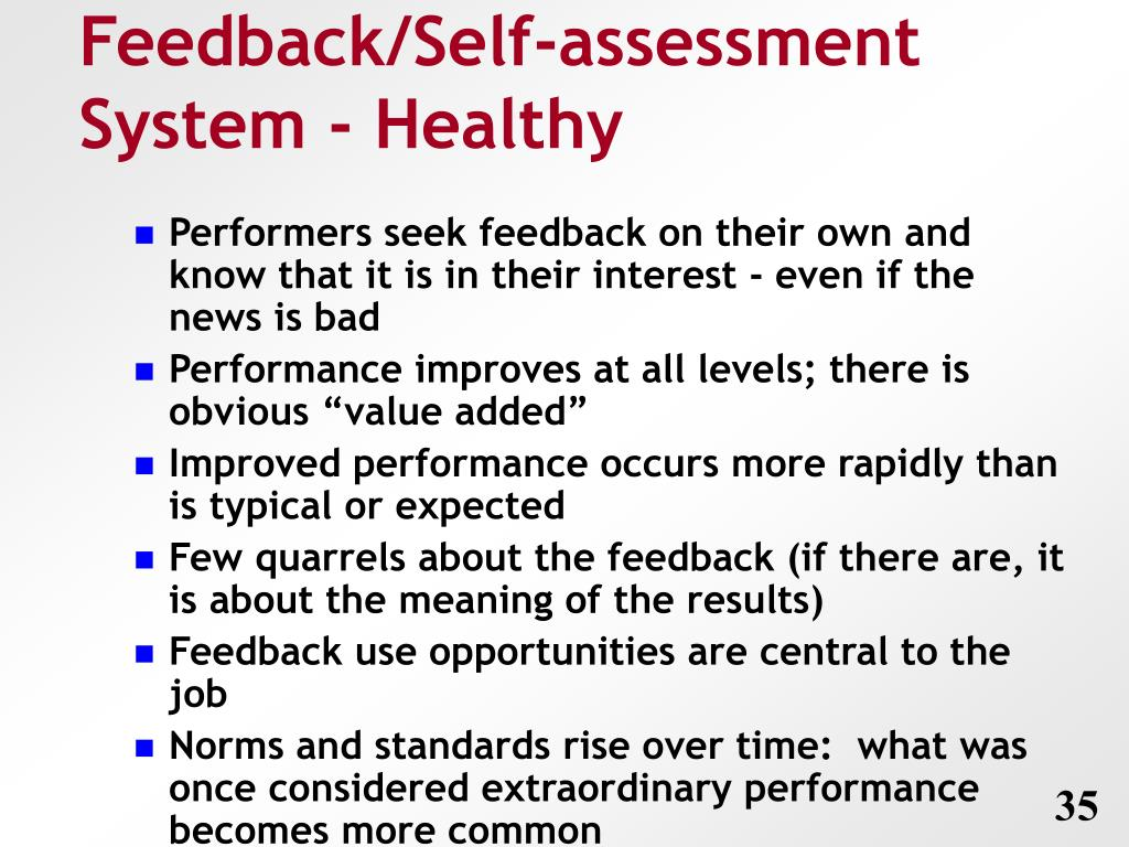 Feedback/Self-assessment System - Healthy
