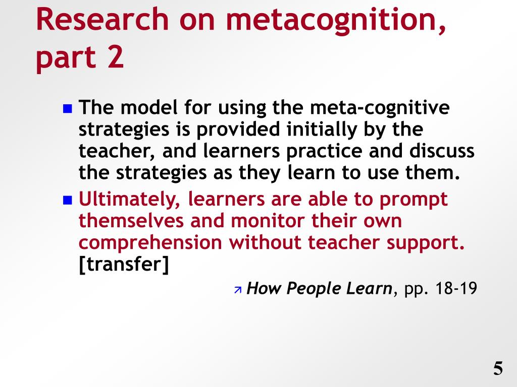 Research on metacognition, part 2
