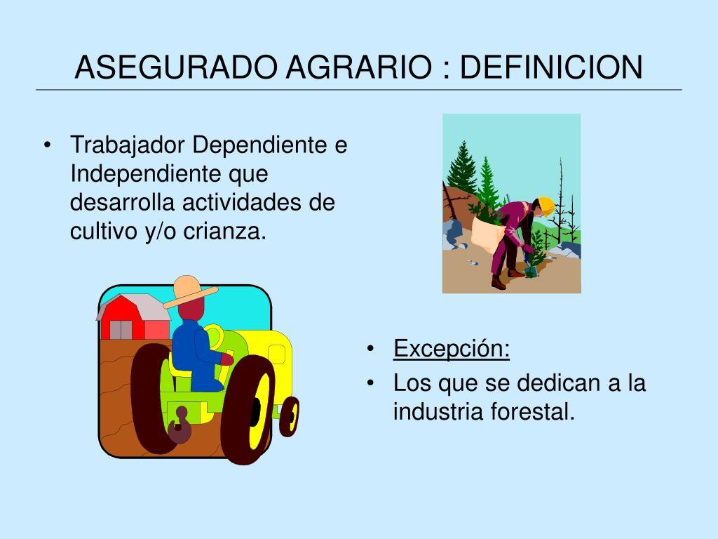 ASEGURADO AGRARIO : DEFINICION