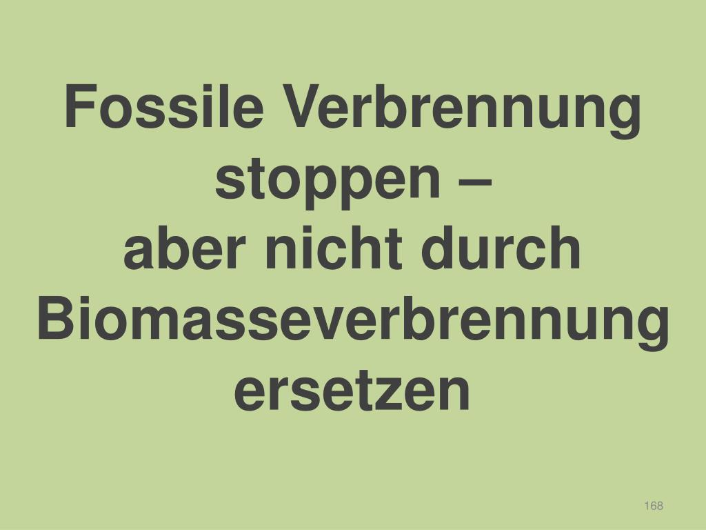 Fossile Verbrennung stoppen –