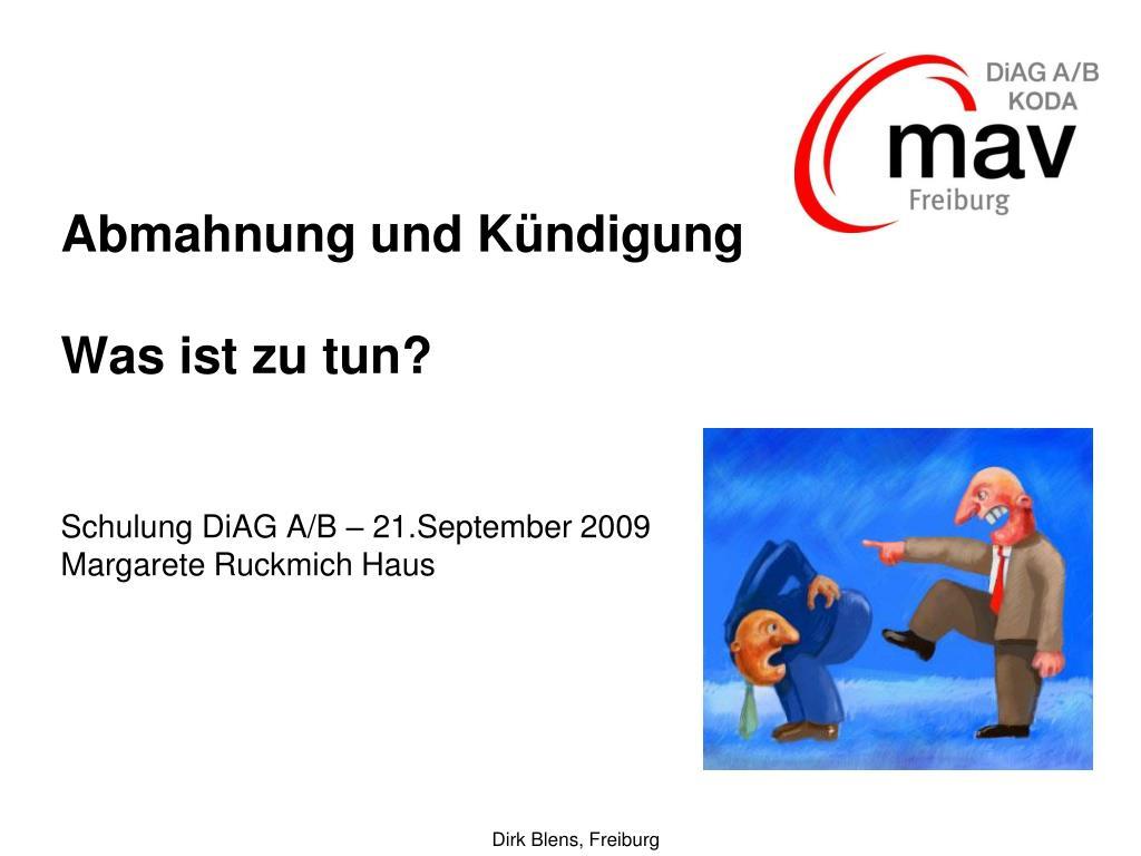 abmahnung und k ndigung was ist zu tun schulung diag a b 21 september 2009 margarete ruckmich haus l.