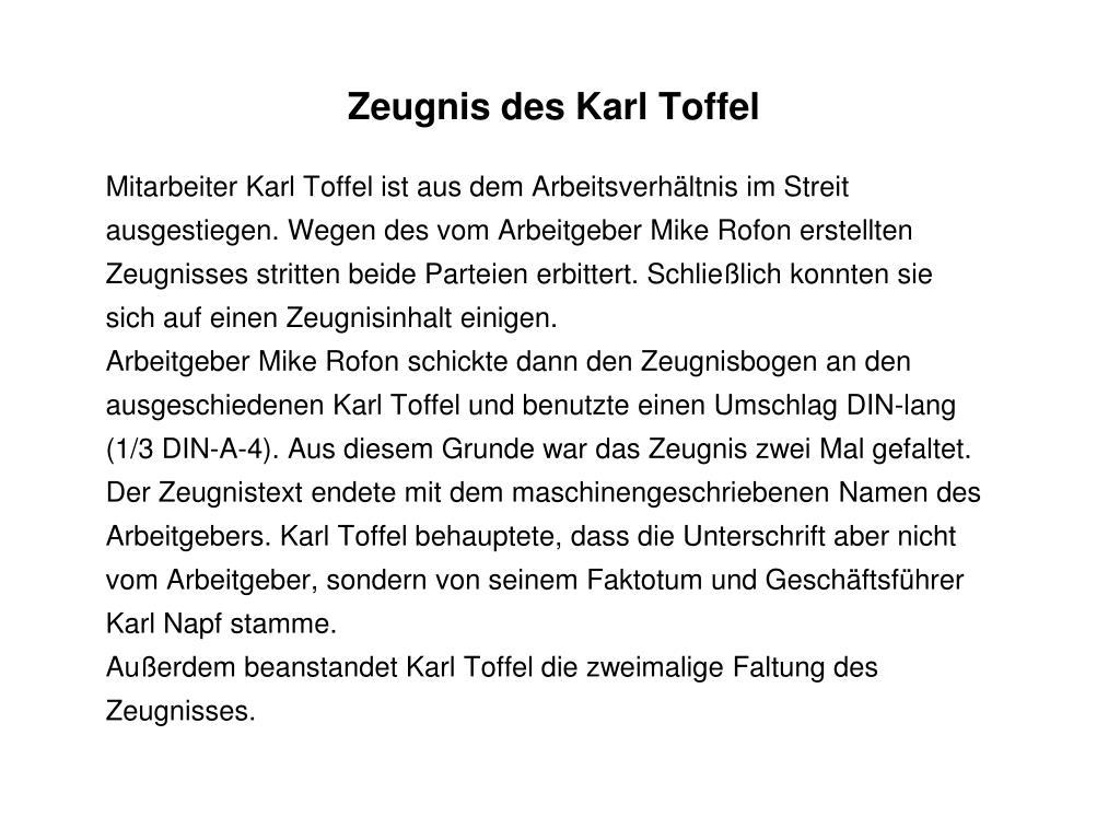 Zeugnis des Karl Toffel