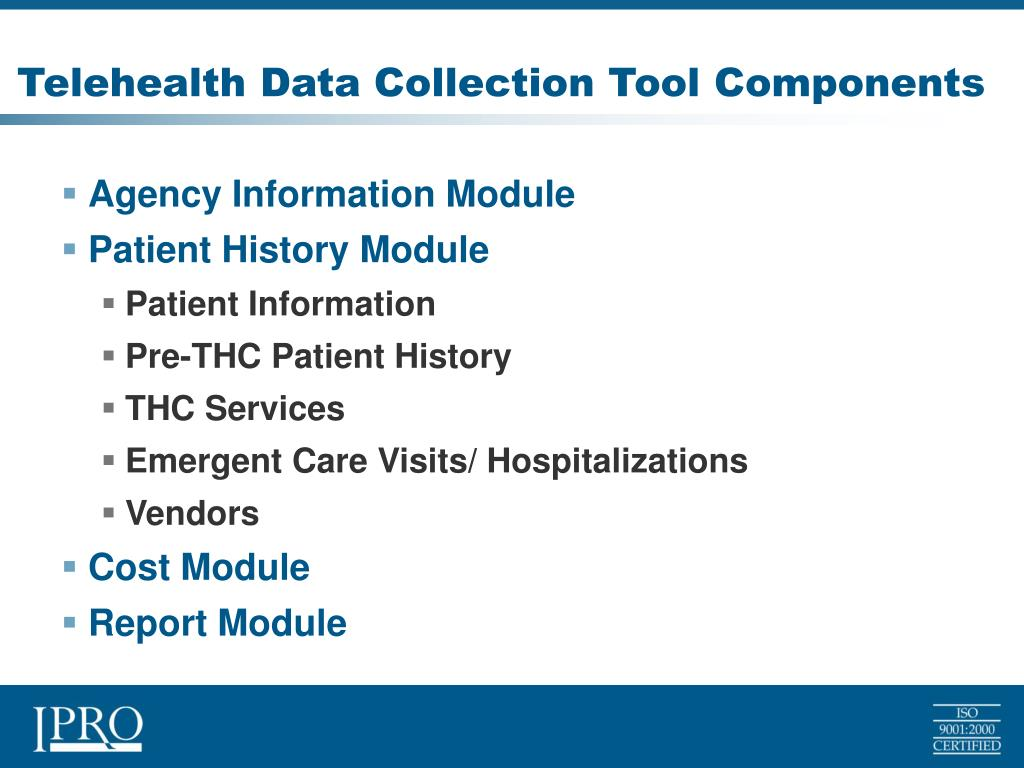 Telehealth Data Collection Tool Components