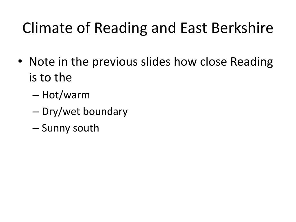 Climate of Reading and East Berkshire