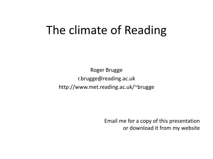 The climate of reading