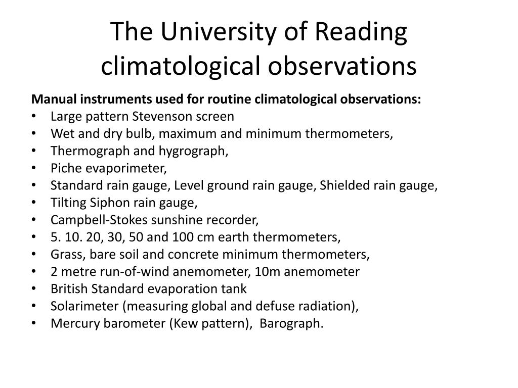 The University of Reading climatological observations