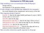conclusions for iter data needs