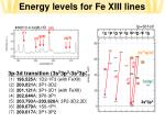 energy levels for fe xiii lines