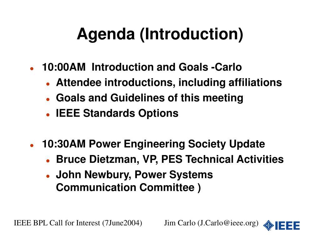 Agenda (Introduction)