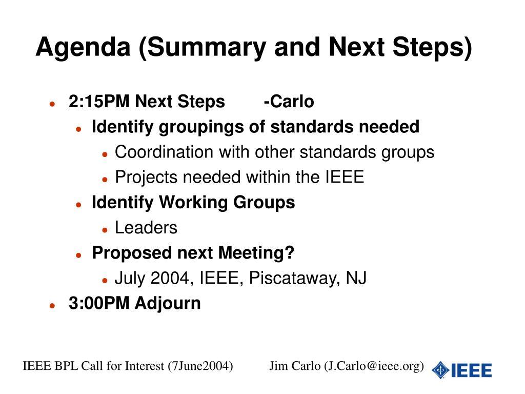Agenda (Summary and Next Steps)