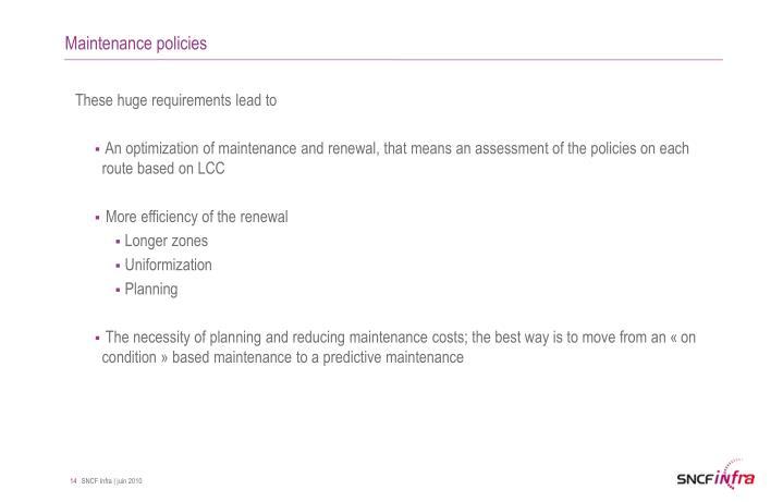 Maintenance policies