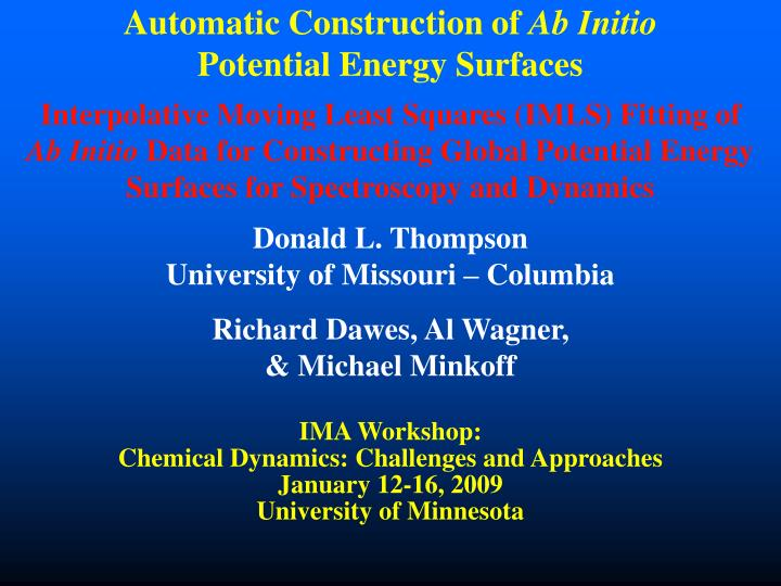 automatic construction of ab initio potential energy surfaces