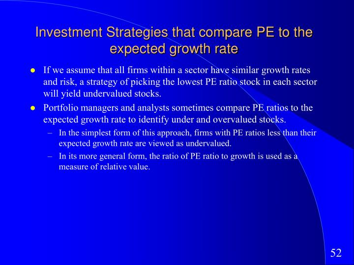 Investment Strategies that compare PE to the expected growth rate
