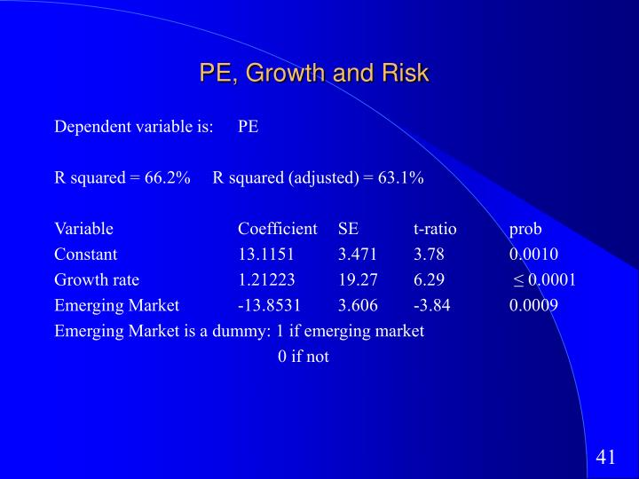 PE, Growth and Risk