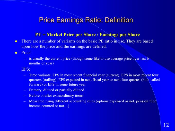 Price Earnings Ratio: Definition