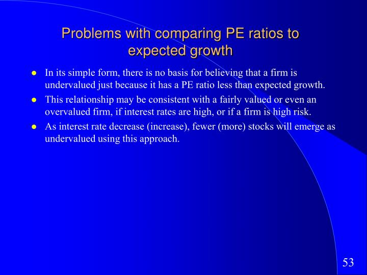 Problems with comparing PE ratios to expected growth
