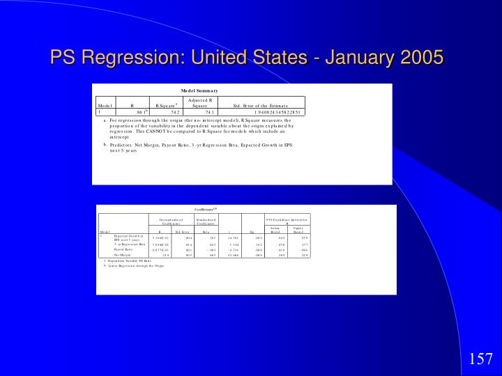 PS Regression: United States - January 2005