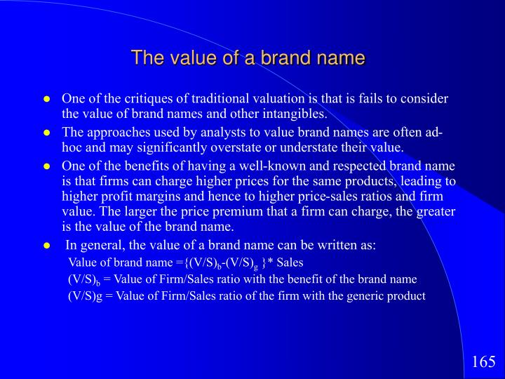 The value of a brand name