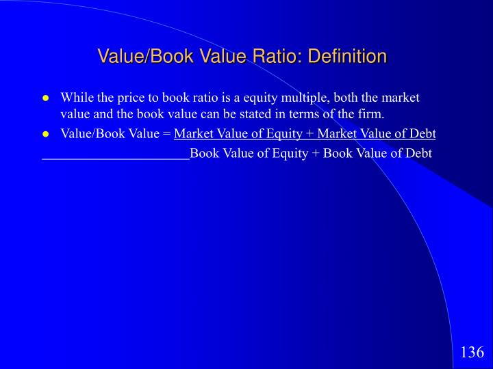 Value/Book Value Ratio: Definition
