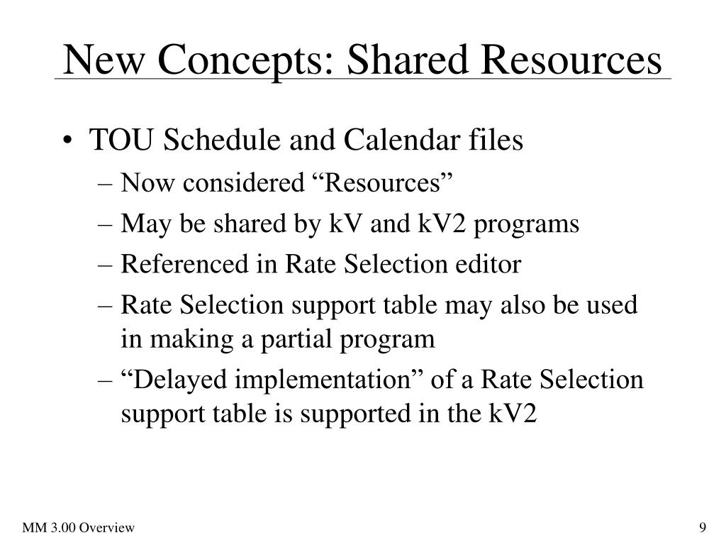 New Concepts: Shared Resources