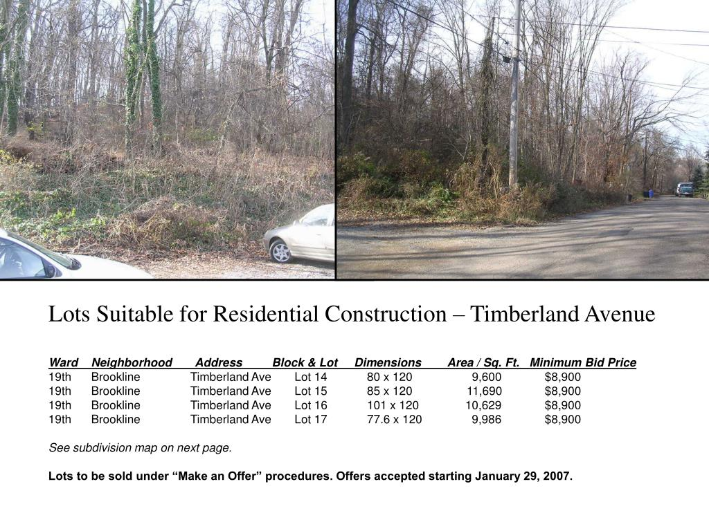 Lots Suitable for Residential Construction – Timberland Avenue