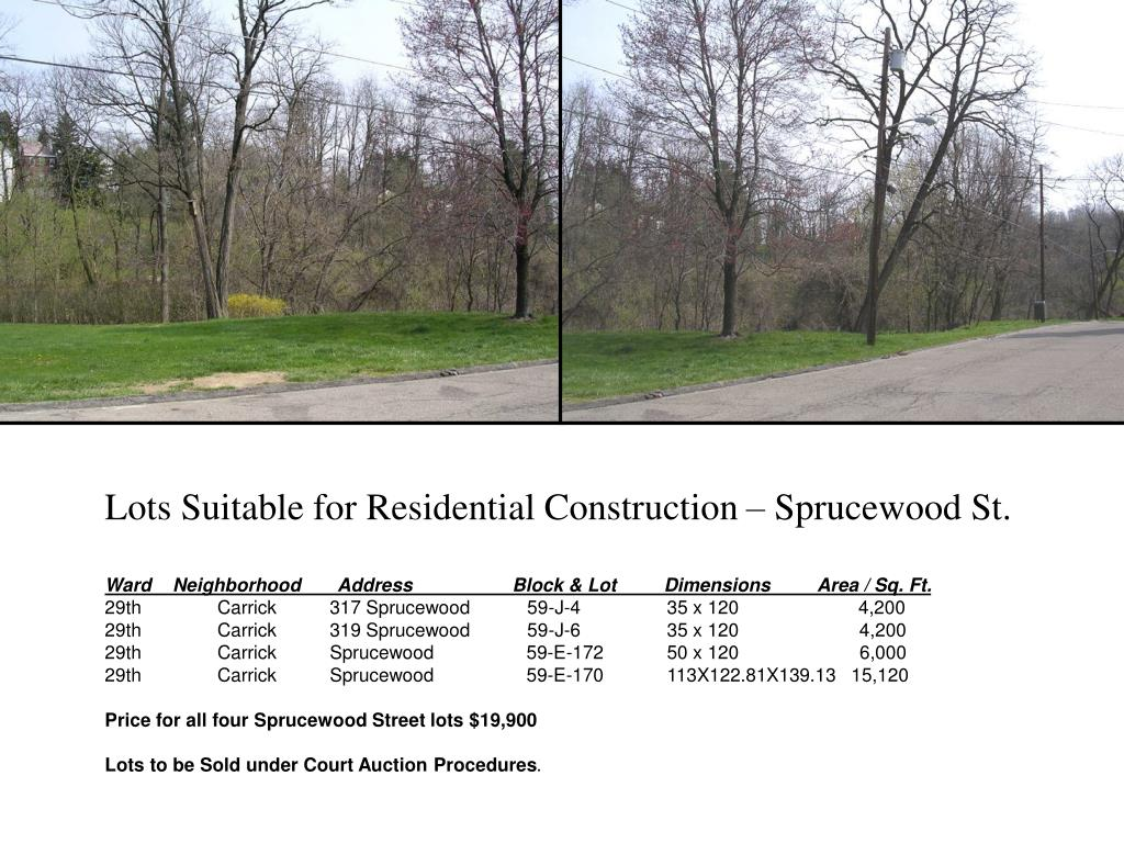 Lots Suitable for Residential Construction – Sprucewood St.