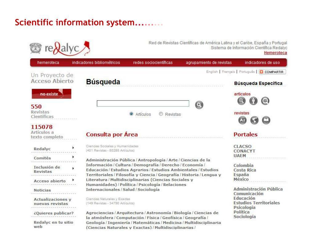 Scientific information system