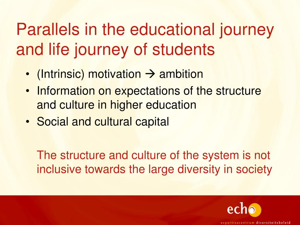 educational journey Chris lamont english 101 professor scala 10 2 12 my journey through the education world has had its ups and downs just like most others, and i believe the.