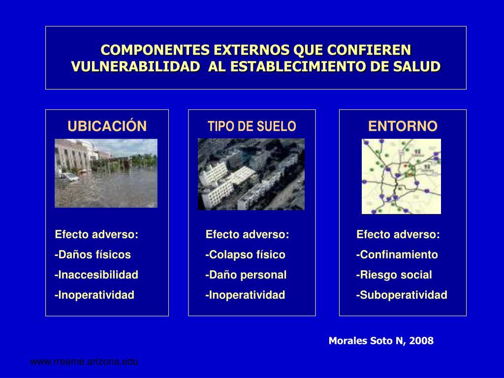 COMPONENTES EXTERNOS QUE CONFIEREN  VULNERABILIDAD  AL ESTABLECIMIENTO DE SALUD