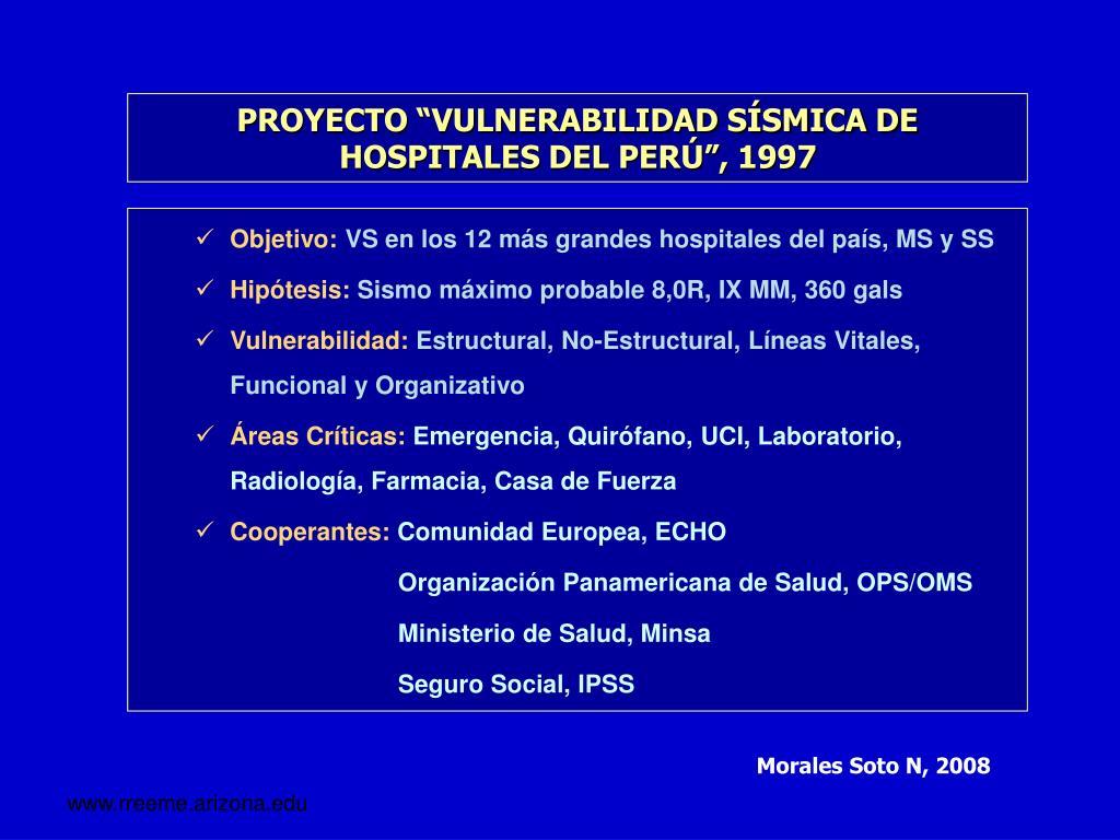 """PROYECTO """"VULNERABILIDAD SÍSMICA DE HOSPITALES DEL PERÚ"""", 1997"""